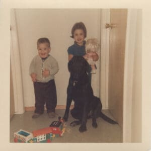 Lisa and her brother with their dog